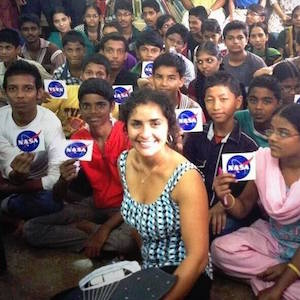 Anita sitting with children in Mumbai