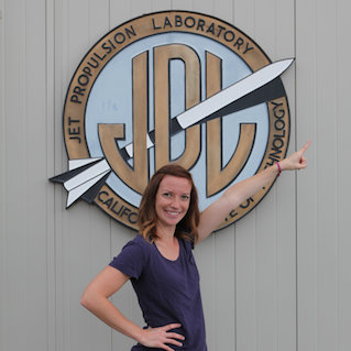 Web producer Kim Orr at NASA's Jet Propulsion Laboratory