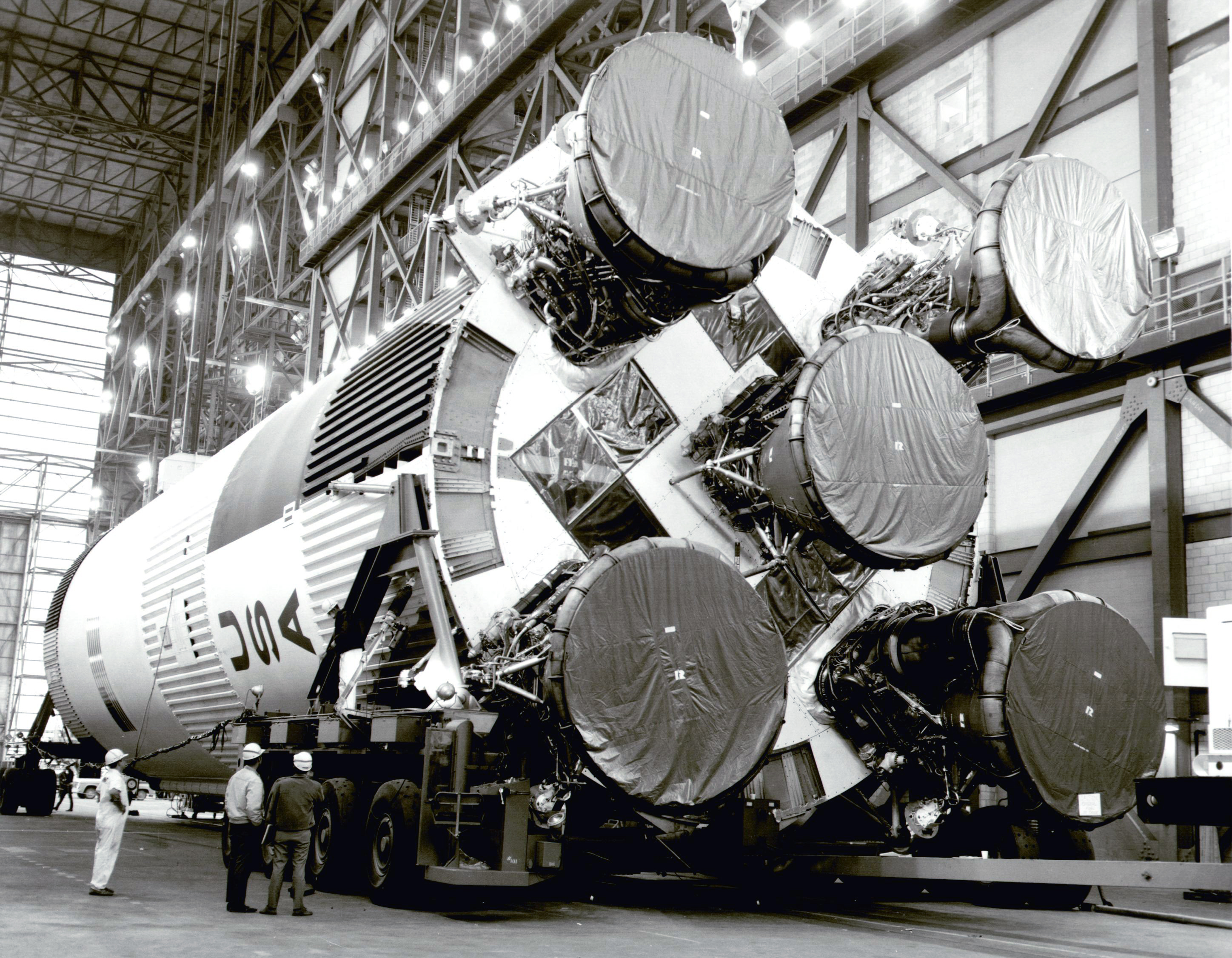 Saturn V on its side