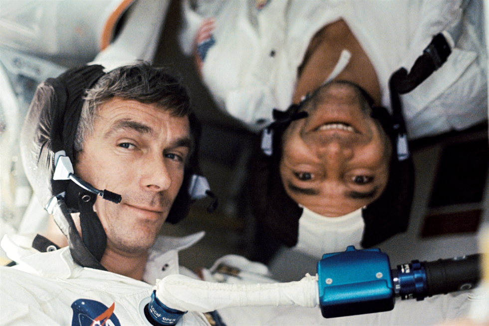 Apollo 17 crewmates Gene Cernan and Ronald Evans in space.