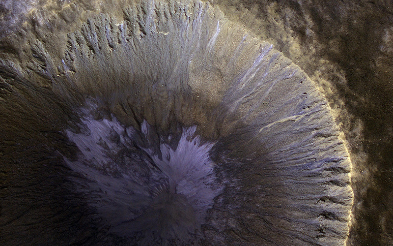 Partial, close view of deep crater