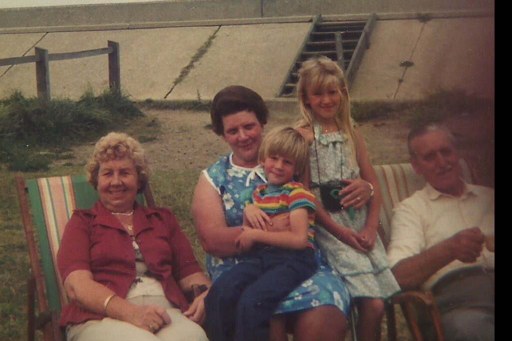 Abi with her grandma, great aunt and great uncle, and her brother, Greg, around 1979