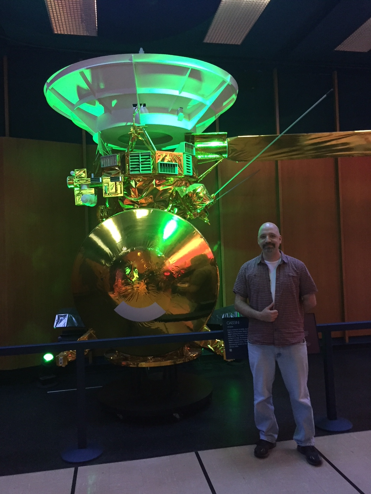 Warren with the Cassini spacecraft model