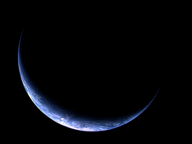 Crescent Earth as seen by Rosetta