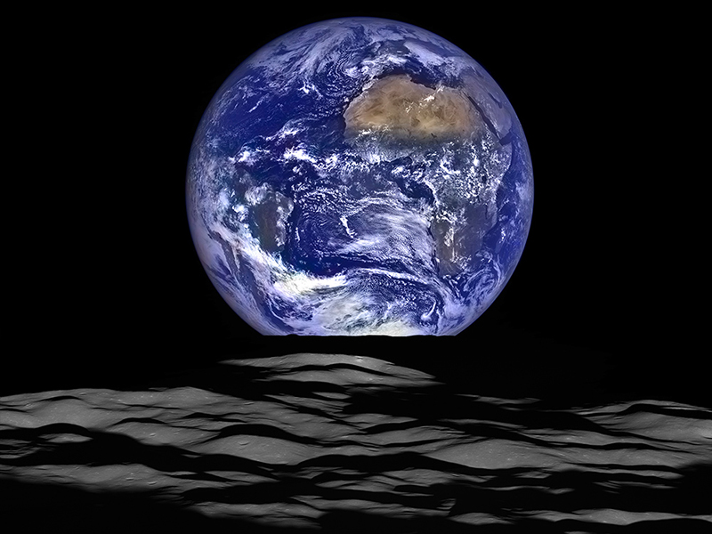 Earthrise above the Moon.