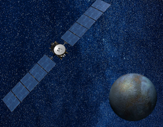 Dawn orbiting high above Ceres aims its scientific instruments at the dwarf planet.