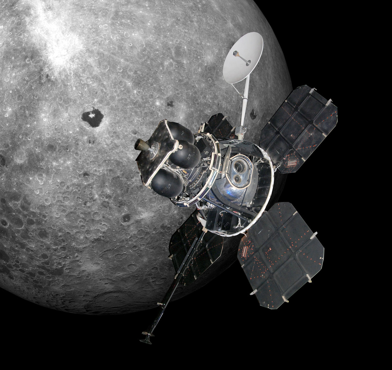 Spacecraft above Moon.
