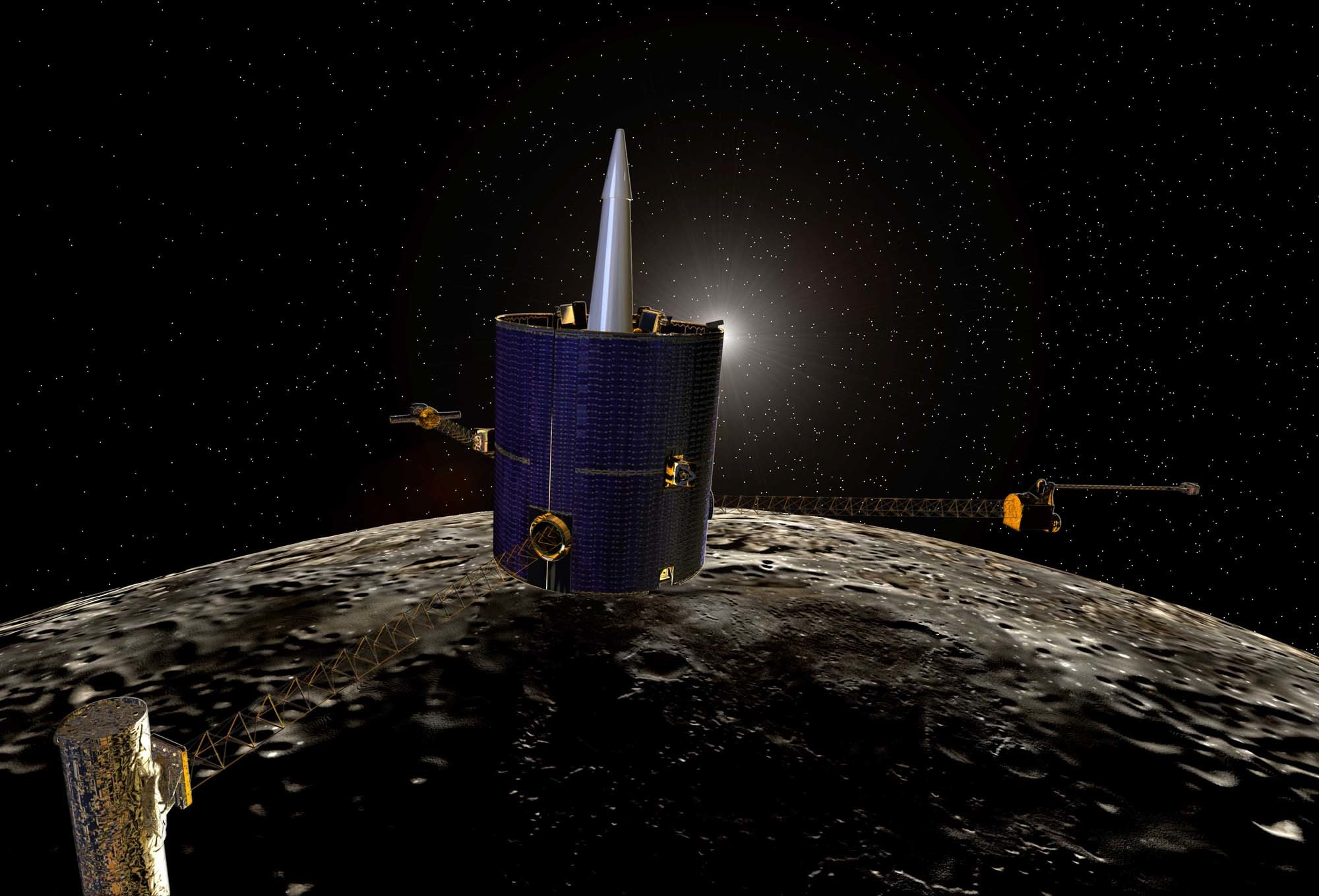 Lunar Prospector above the Moon.