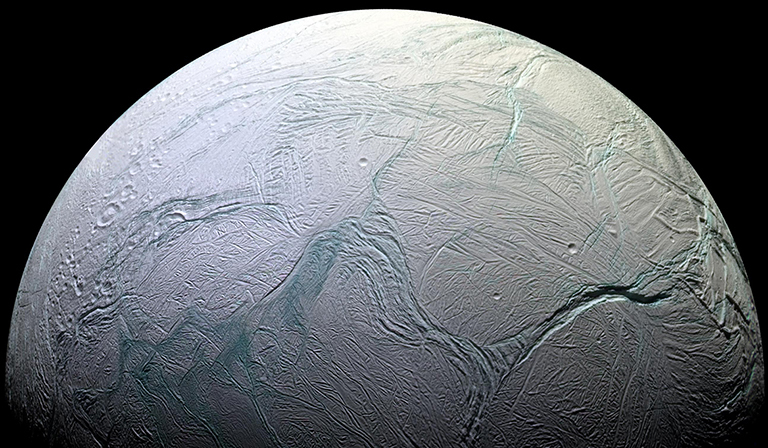 Color image of icy Enceladus.