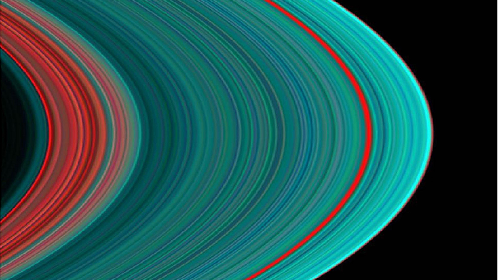 Color view of Saturn's rings.