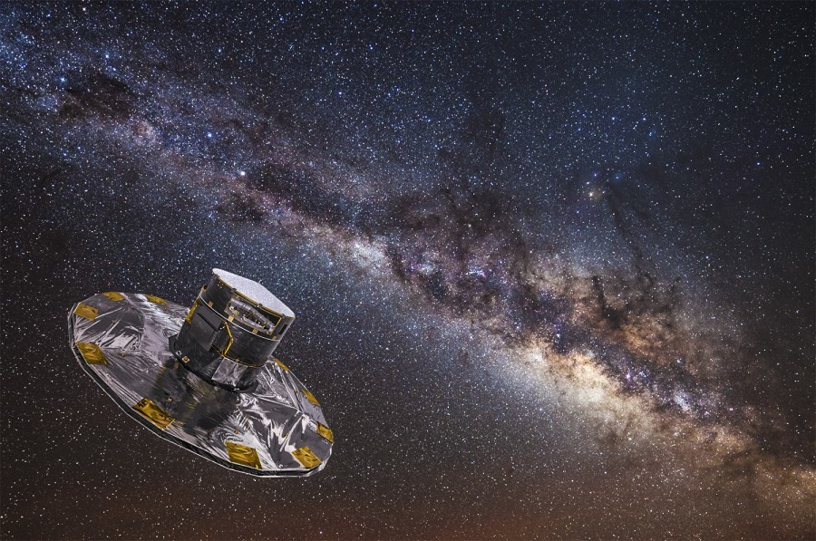 spacecraft with Milky Way in background