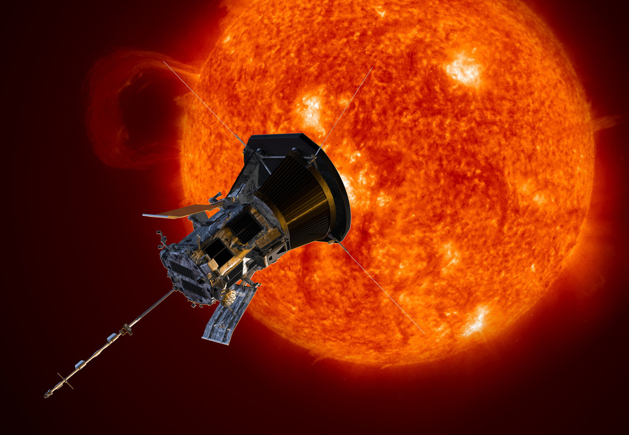 Illustrated spacecraft close to the Sun.