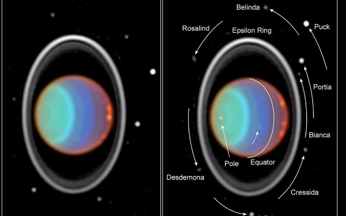 Taking its first peek at Uranus, NASA Hubble Space Telescope's Near Infrared Camera and Multi-Object Spectrometer (NICMOS) has detected six distinct clouds in images taken July 28, 1997. Hubble also captured eight moons in this image. Image Credit: NASA/JPL/STScI