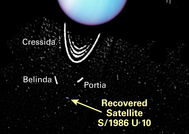 Hubble image of Uranus satellites, annotated.