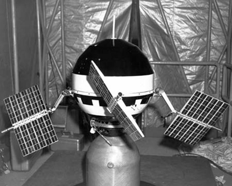 Image of spacecraft being assembled.