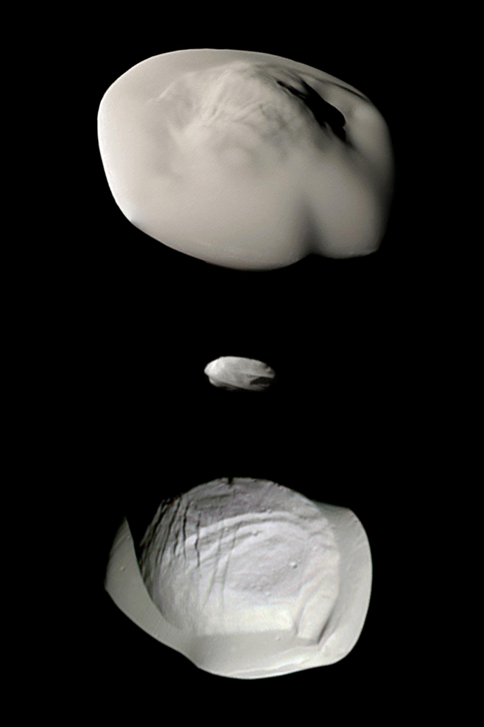 Images of Atlas, Daphnis and Pan, taken by Cassini.