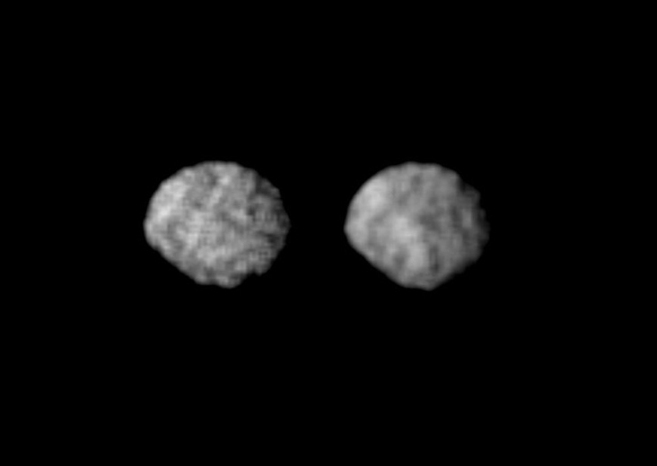 Two views of Larissa, a dark, irregularly shaped moon of Neptune discovered in 1989 by Voyager 2.