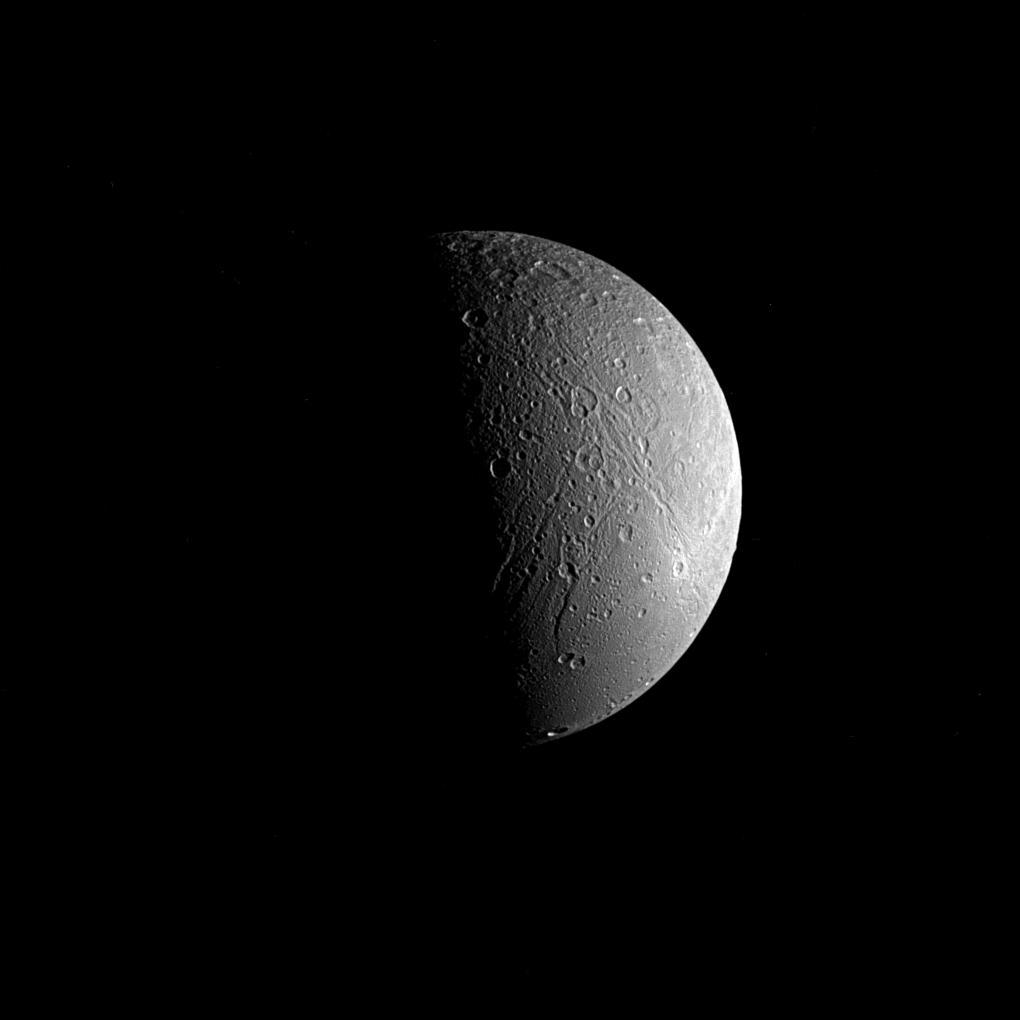 Saturn moon, Dione, taken by the Cassini spacecraft.