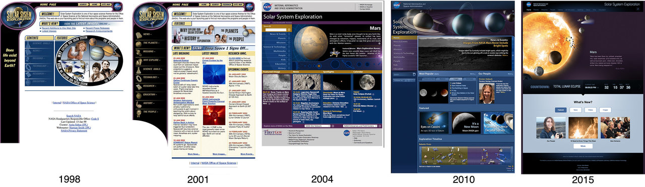 Screengrabs of previous Solar System Exploration home page layouts.