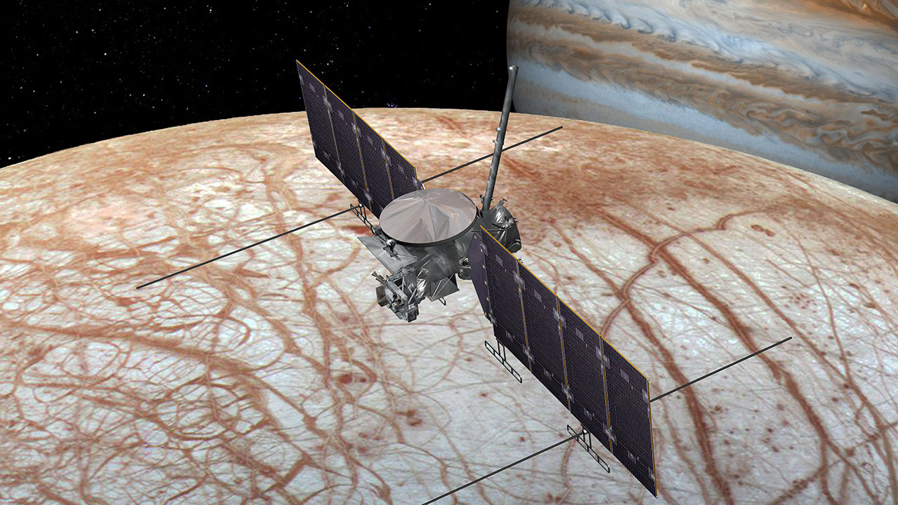 Illustration of spacecraft flying over moon with Jupiter behind.
