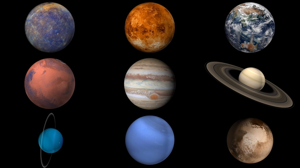 slide 5 - Graphic showing eight planets and dwarf planet Pluto.