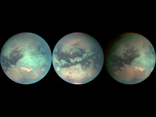 The mosaic shown here was composed with data from Cassini's visual and infrared mapping spectrometer taken during the Titan flyby Dec. 26, 2005.
