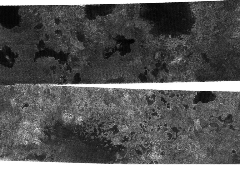 The Cassini spacecraft, using its radar system, has discovered very strong evidence for hydrocarbon lakes on Titan. These radar images were acquired during a previous flyby.