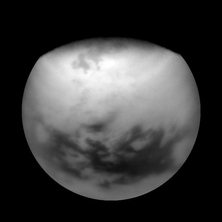 High northern terrain on Titan is made visible by some image processing sleight of hand. Taken March 29, 2007