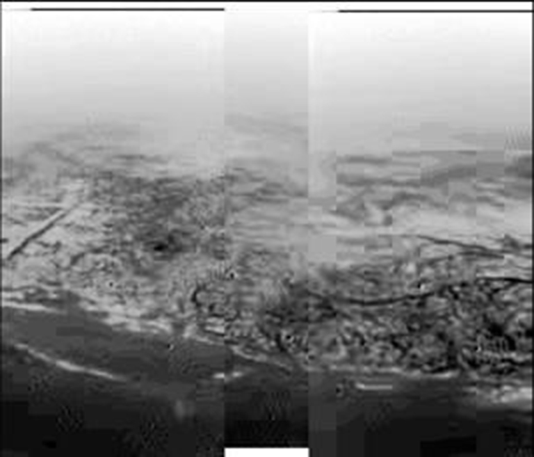 This composite was produced from images returned on 14 January 2005, by ESA's Huygens probe during its successful descent to land on Titan.