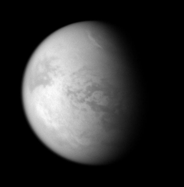 A bright streak of cloud graces the northern skies of Titan.