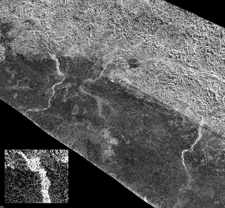 On the final flyby of Cassini's original four-year tour, its radar mapper captured these unusual channels on Titan at the edge of Xanadu, the widest seen in this area.