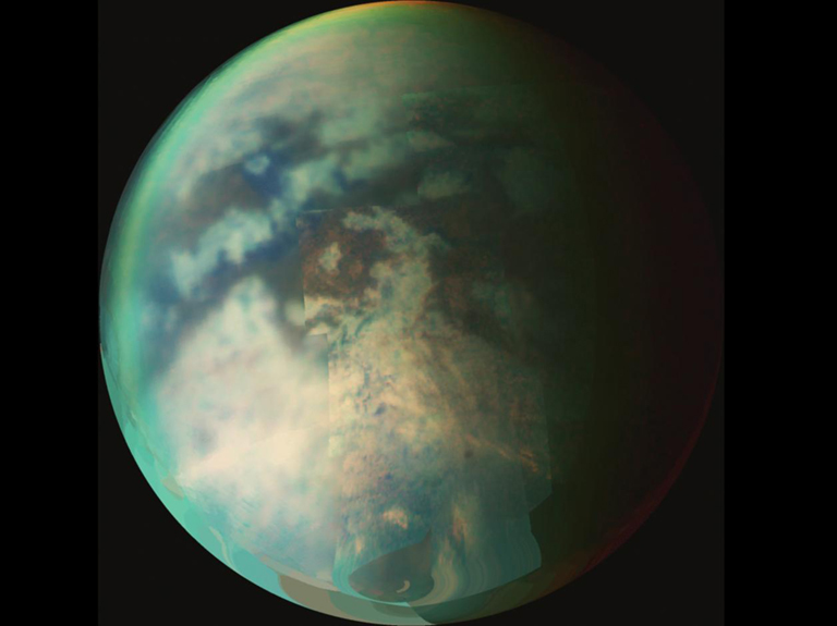 Cassini's visual and infrared mapping spectrometer captured this mosaic view of Titan during flybys in October 2006.