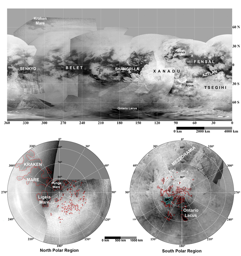 Maps of Titan - January 2009 --These updated maps of Saturn's moon Titan, consisting of data from the Cassini imaging science subsystem, include Cassini's August 2008 imaging of the moon's northern hemisphere