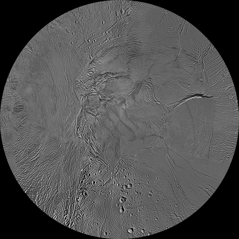 The southern hemisphere of Enceladus is seen in this polar stereographic map, mosaicked from the best-available Cassini and Voyager clear-filter images.