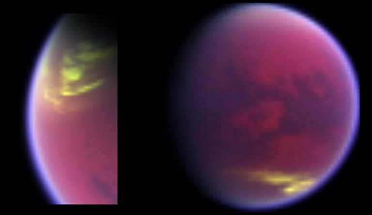 This pair of false-color images, made from data obtained by NASA's Cassini spacecraft, shows clouds covering parts of Saturn's moon Titan in yellow.