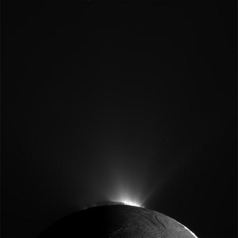 NASA's Cassini spacecraft obtained this raw image of the south polar region of Saturn's moon Enceladus on Nov. 30, 2010. The spacecraft was about 89,000 kilometers (55,000 miles) away from the moon's surface