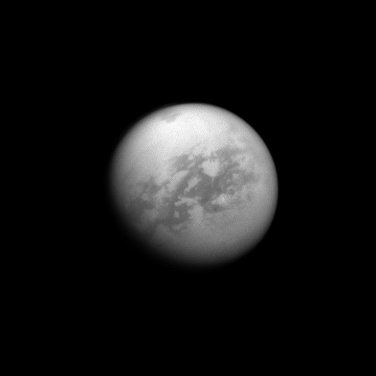 The Cassini spacecraft looks toward Saturn's largest moon, Titan, and spies the huge Kraken Mare in the moon's north. The image was taken Sept. 14, 2011.