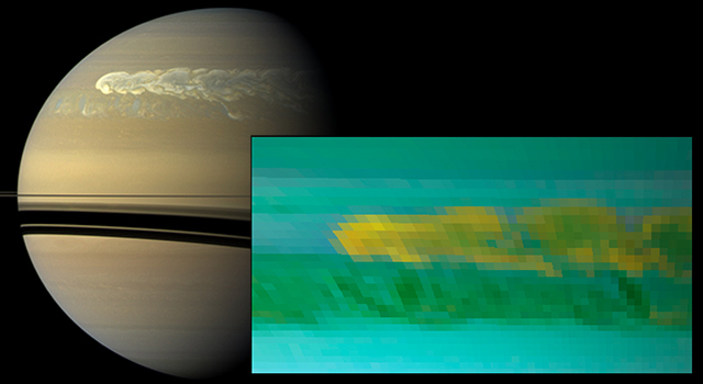 This set of images from NASA's Cassini mission shows the turbulent power of a monster Saturn storm.