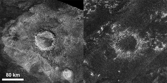 "A relatively ""fresh"" crater called Sinlap (left) and an extremely degraded crater called Soi (right)."