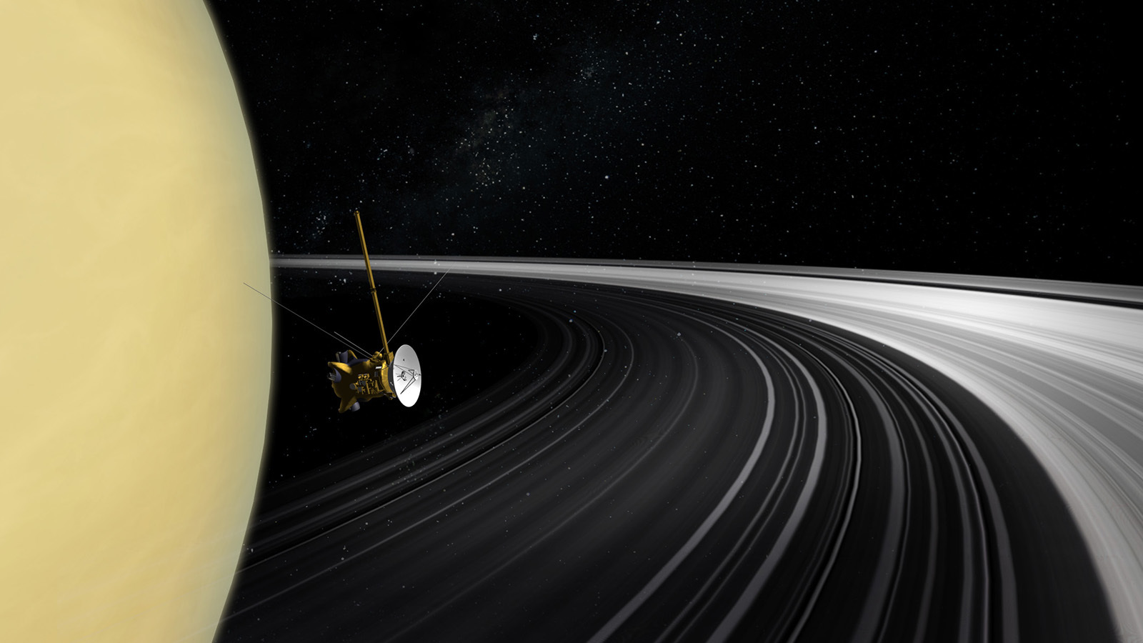 Illustration of spacecraft close to Saturn.