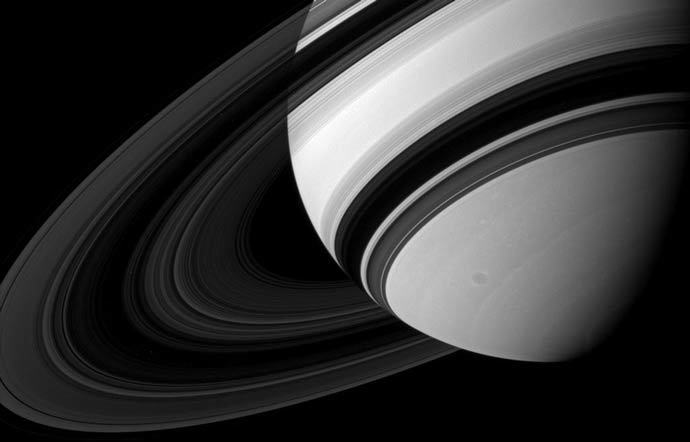 Saturn's B ring is the most opaque of the main rings, appearing almost black in this Cassini image taken from the unlit side of the ring plane.