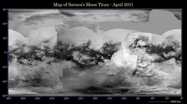 This global digital map of Saturn's moon Titan was created using images taken by the Cassini spacecraft's imaging science subsystem (ISS). The map was released Oct. 26, 2011, and the most recent data in it is from April 2011.