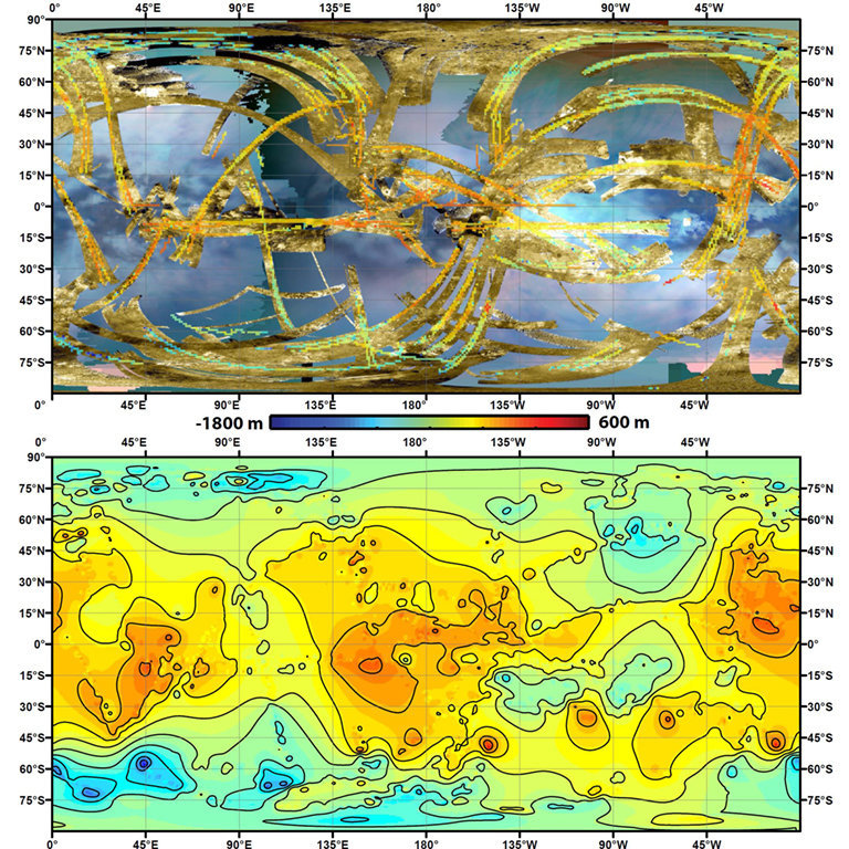 In the upper panel of this graphic, gold colors show where radar images have been obtained over almost half of Titan's surface. The lower panel shows the new topography map, with contour lines added at 656 feet (200 meters) apart in elevation.