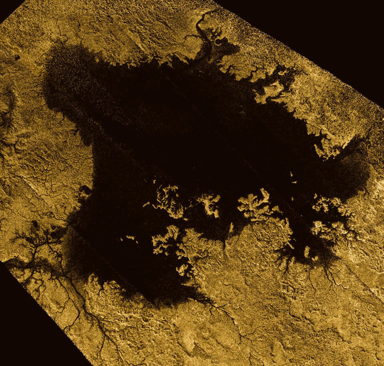 Ligeia Mare, shown here in a false-color image from NASA's Cassini mission, is the second largest known body of liquid on Saturn's moon Titan. It is filled with liquid hydrocarbons, such as ethane and methane, and is one of the many seas and lakes that bejewel Titan's north polar region.