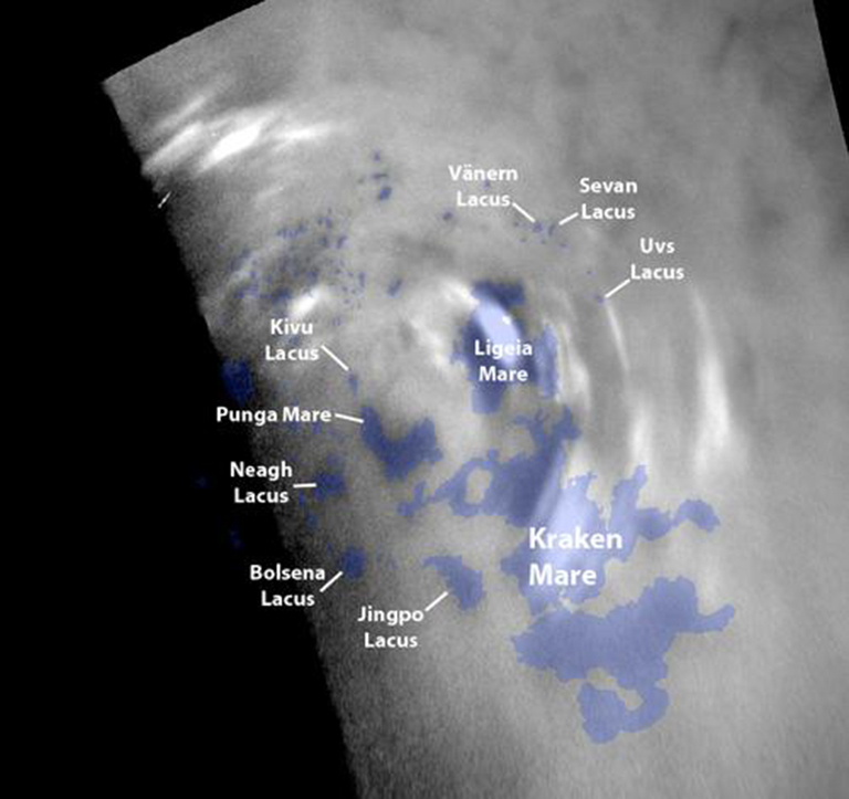 Clouds move above the large methane lakes and seas near the north pole of Saturn's moon Titan in this single frame from an animation made with images taken by Cassini.