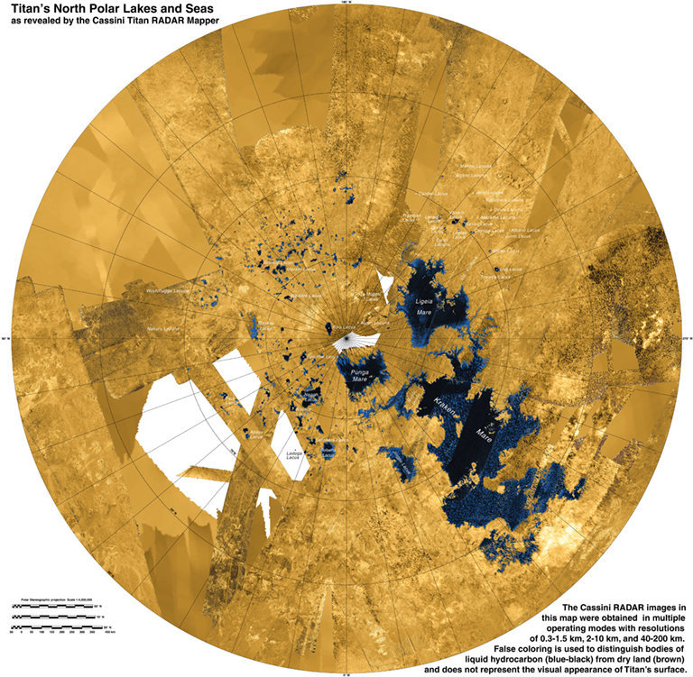 This colorized mosaic from NASA's Cassini mission shows the most complete view yet of Titan's northern land of lakes and seas. Saturn's moon Titan is the only world in our solar system other than Earth that has stable liquid on its surface. The liquid in Titan's lakes and seas is mostly methane and ethane. This image was released on Dec. 12, 2013.