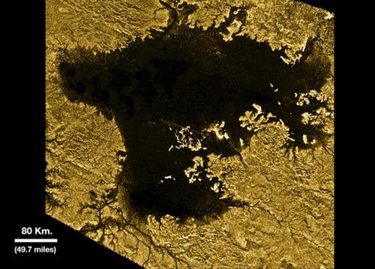 Ligeia Mare, shown here in an artistically enhanced image from NASA's Cassini mission, is the second largest known body of liquid on Saturn's moon Titan.