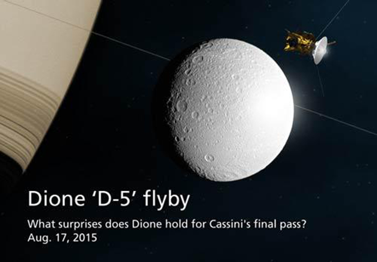 Cassini will zip past Dione on Monday, Aug. 17 -- the final close flyby of this icy moon during the spacecraft's long mission. Mission controllers expect fresh images to begin arriving on Earth within a couple of days following the encounter.