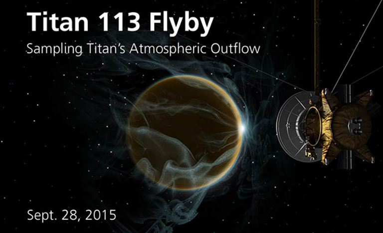 During this flyby, the Ion and Neutral Mass Spectrometer will sample Titan's neutral atmosphere and ionosphere.