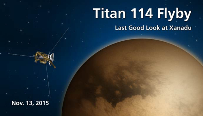 During this flyby, the Cassini spacecraft will acquire a medium-to-high-resolution mosaic of Titan's leading hemisphere over Xanadu.